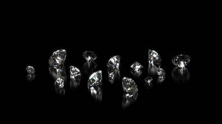 Luxury shining diamonds background on black