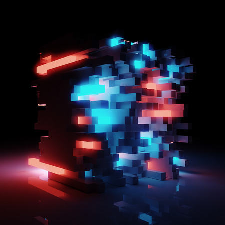 Abstract shining block sci-fi architecture background - 3D render