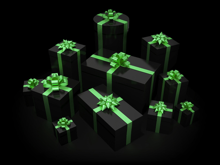 gift boxes: Stack of gift boxes on black isolated with clipping path Stock Photo