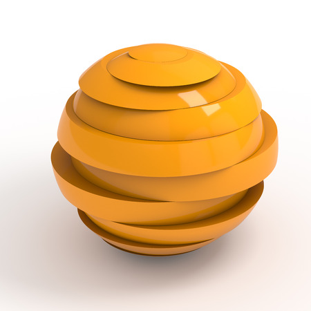 disharmony: Sliced orange ball 3D render isolated with clipping path