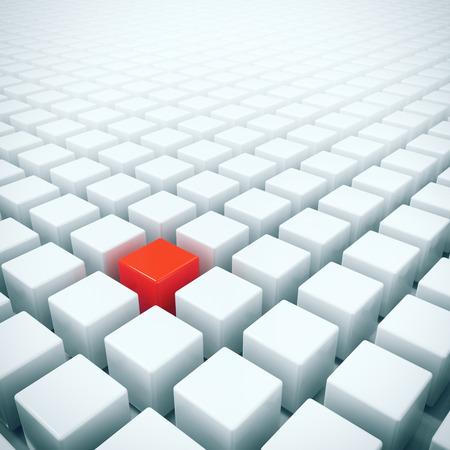 Uniek in de menigte - alleen rode doos in witte dozen menigte