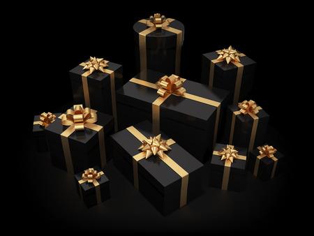 ruban noir: Pile de boîtes à cadeaux sur fond noir isolée avec chemin de détourage