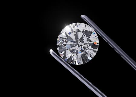 Luxe diamanten in pincet close-up met donkere achtergrond