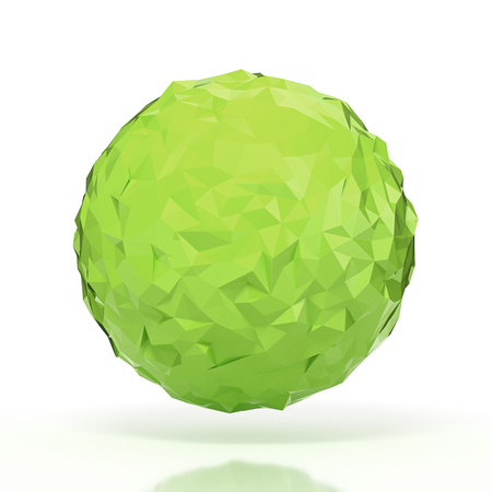 futurictic: Green triangular 3D sphere on white isolated with clipping path