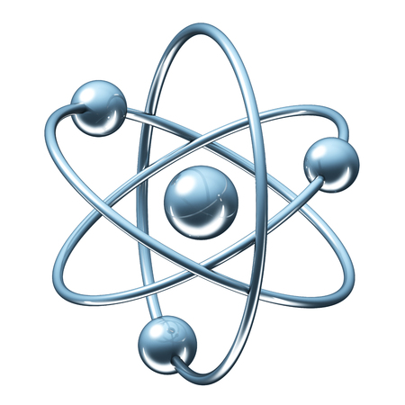 Abstract model of atom - 3D science render with clipping path Stockfoto