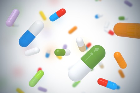 Dalende kleurrijke pillen - 3D render