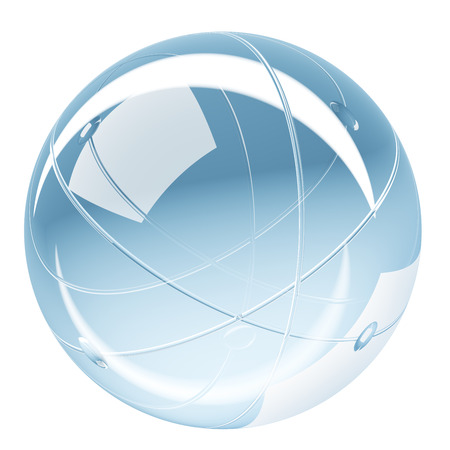 Abstract shiny sphere glass render button isolated on white background
