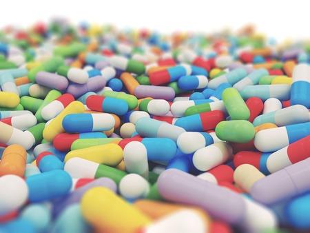 Kleurrijke Vitamine Tablet - 3D Render