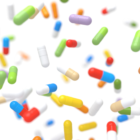 Colorful Falling Vitamin Tablets - 3D illustration