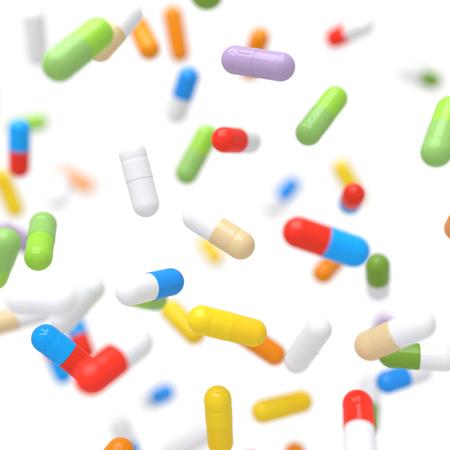 Kleurrijke dalende vitaminepillen - 3D illustratie Stockfoto