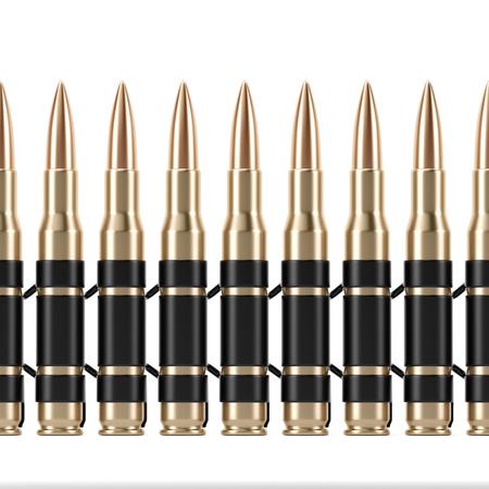 Bullet Shells Belt - 3D render afbeelding Stockfoto