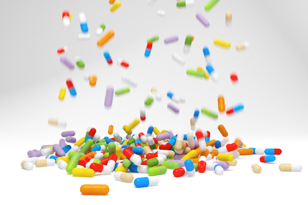 multivitamin: Falling colorful pills - 3D rendered image