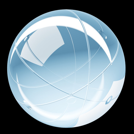 Abstract shiny sphere glass button - 3D illustration