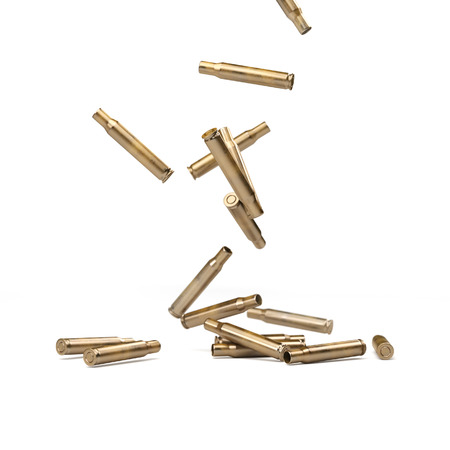 gunfire: Falling Bullet Shells Isolated On White - 3D illustration