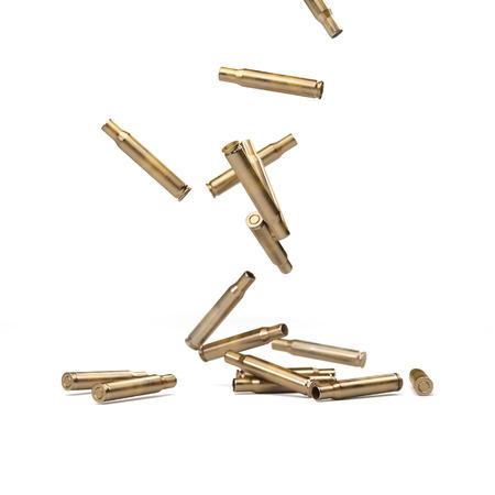 gunfire: Falling Bullet Shells Isolated On White - 3D illustration