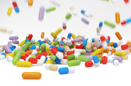 vitamin pills: Falling colorful vitamin pills - 3D illustration