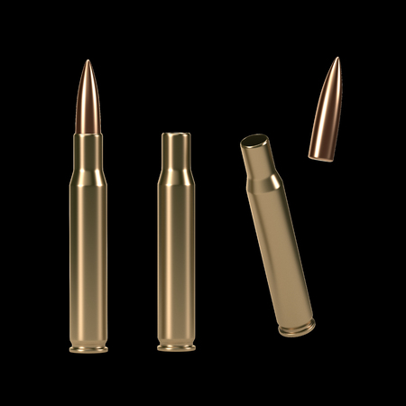 ballistic: Bullet Shell Render Isolated On Black - 3D illustration