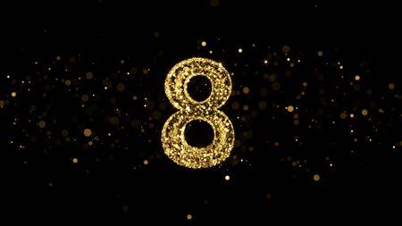 Luxury Golden Glitter Number 8 - 3D gerendert glänzende Funkeln auf schwarzem Hintergrund Standard-Bild