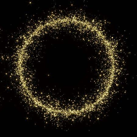 Golden Glitters Frame - 3D Rendered Shining Sparkles