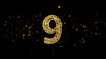 Luxury Golden Glitter Number 9 - 3D Rendered Shining Sparkles on black backgournd