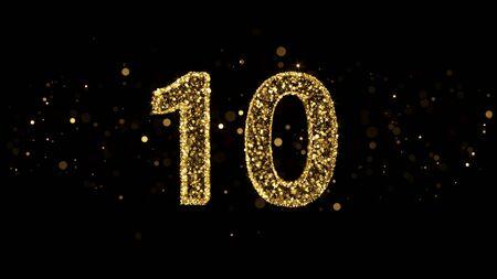 Luxury Golden Glitter Number 10 - 3D Rendered Shining Sparkles on black backgournd Stockfoto