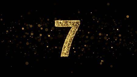 Luxury Golden Glitter Number 7 - 3D Rendered Shining Sparkles on black backgournd