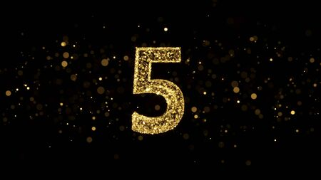 Luxury Golden Glitter Number 5 - 3D Rendered Shining Sparkles on black backgournd