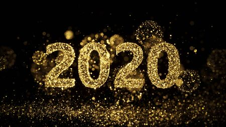 Happy New Year 2020 - Golden Sparkles Fireworks
