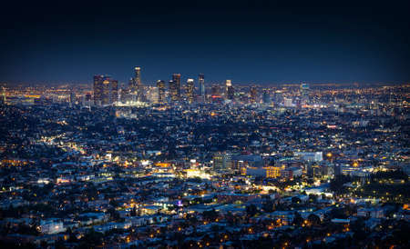 Night downtown skyscrapers Los Angeles California from Griffith Observatory. Big night city panorama