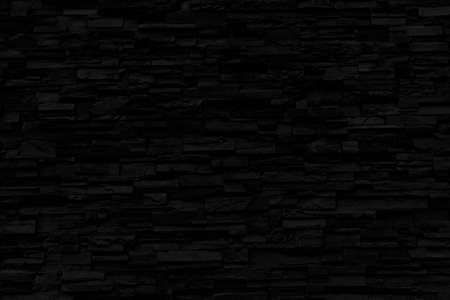 Black Brick Wall Texture - Black Abstract Background - Dark Backdrop Stockfoto