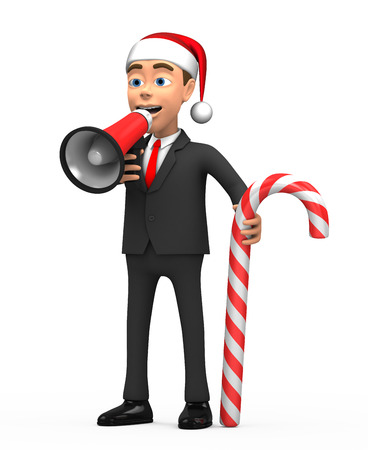 pronounce: 3d New Year businessman with megaphone and candy