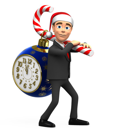 carries: 3D businessman carries clock on candy