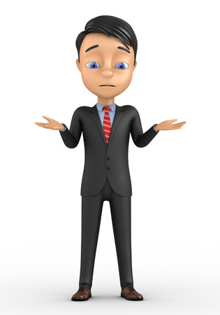 unsuspecting: 3d man standing and having no idea isolated over white background Stock Photo