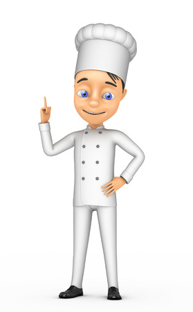 3d chef: 3d cheerful chef on a white background