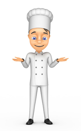 3d puzzled chef on a white background
