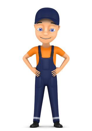 3d small person: 3d small person in a workwear Isolated on white