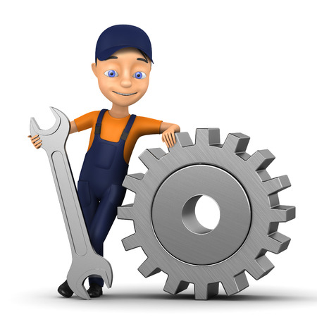 locksmith: 3d small person in a workwear Isolated on white