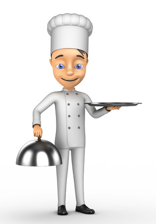 3d chef: 3d Chef with a tray on a white background Stock Photo