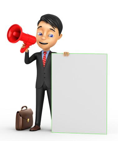 assert: 3d businessman with a megaphone