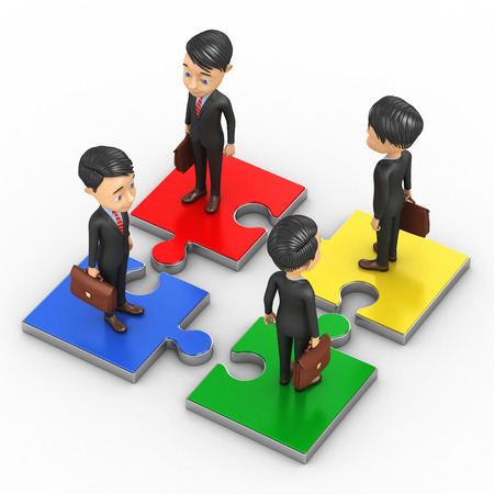 unification: Four biznesmenana stand on puzzle