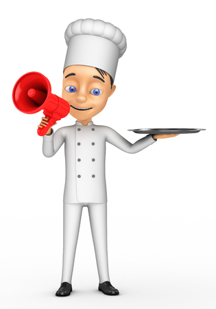 3d chef: 3D Chef with a megaphone on a white background Stock Photo