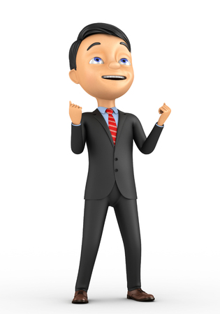3d man on a white background has reached its goal Stock Photo