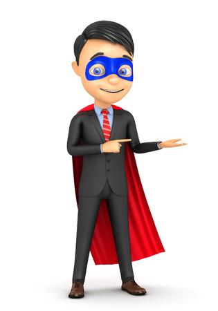 3d super businessman on a white background