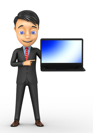 3d businessman with a laptop on a white background
