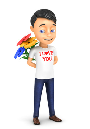 3d man in love with hearts on a white background