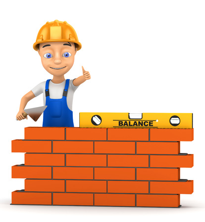 masonry: 3d cheerful builder on a white background