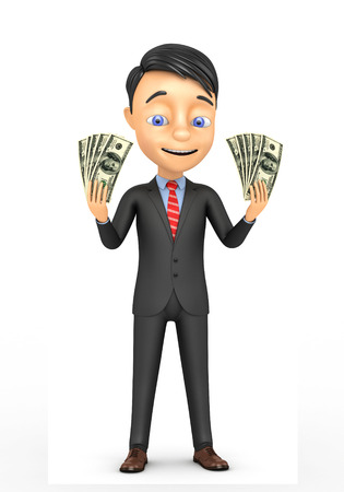 3d happy businessman with dollars in the hands of