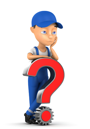 3d worker with a question mark on a white background