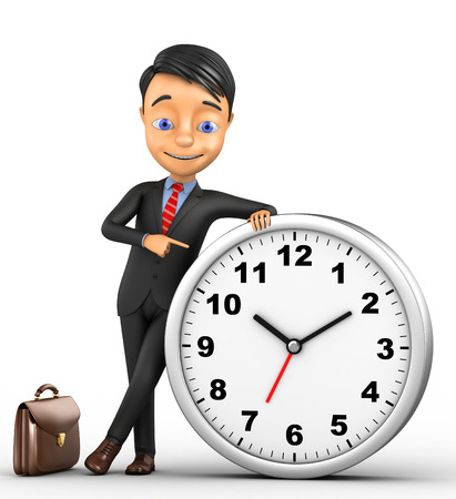 3d cheerful businessman with a clock on a white background