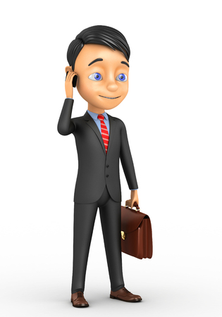 3d businessman with a mobile phone Stock Photo